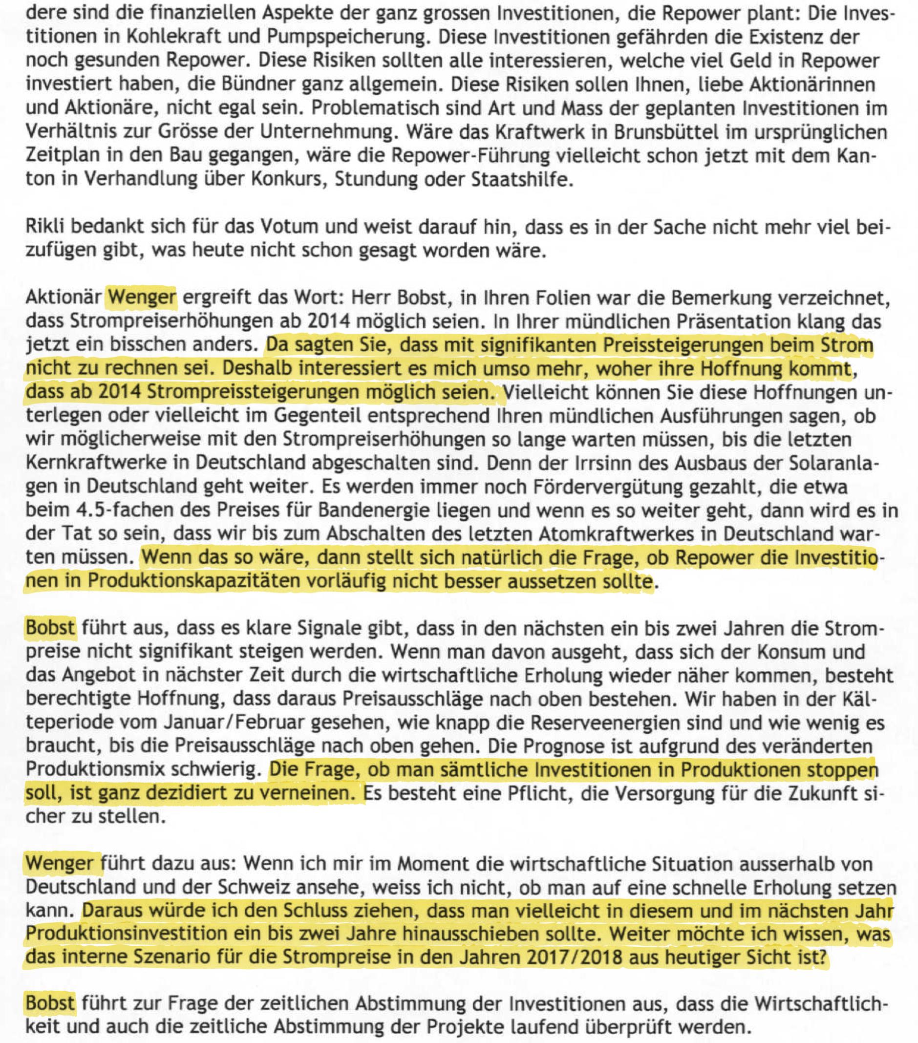 Auszug Protokoll der Generalversammlung der Bündner Repower 2012. Seite 15.