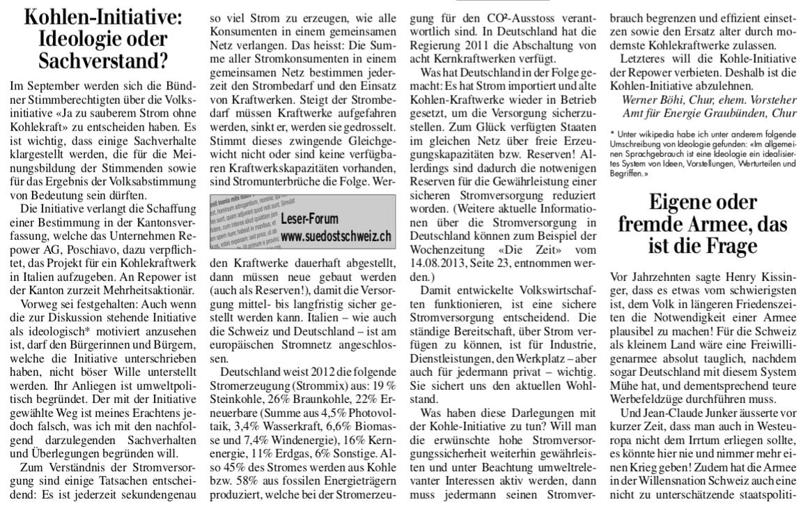 Ideologie-Leserbrief von Werner Böhi