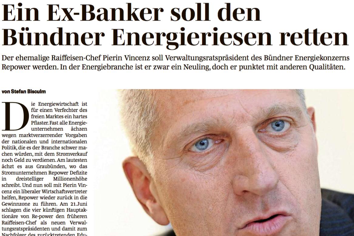 Ein Ex-Banker soll den Bündner Energieriesen retten. Bericht von Stefan Bisculm in der Südostschweiz am 18. Juni 2013.