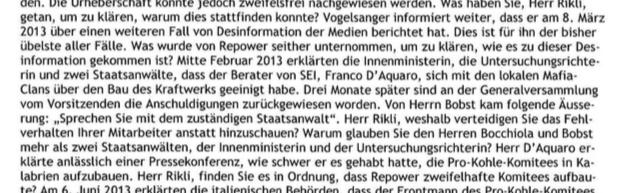 Wortmeldung von Peter Vogelsanger. Seite 14 des Protokolls der Repower Generalversammlung 2015.