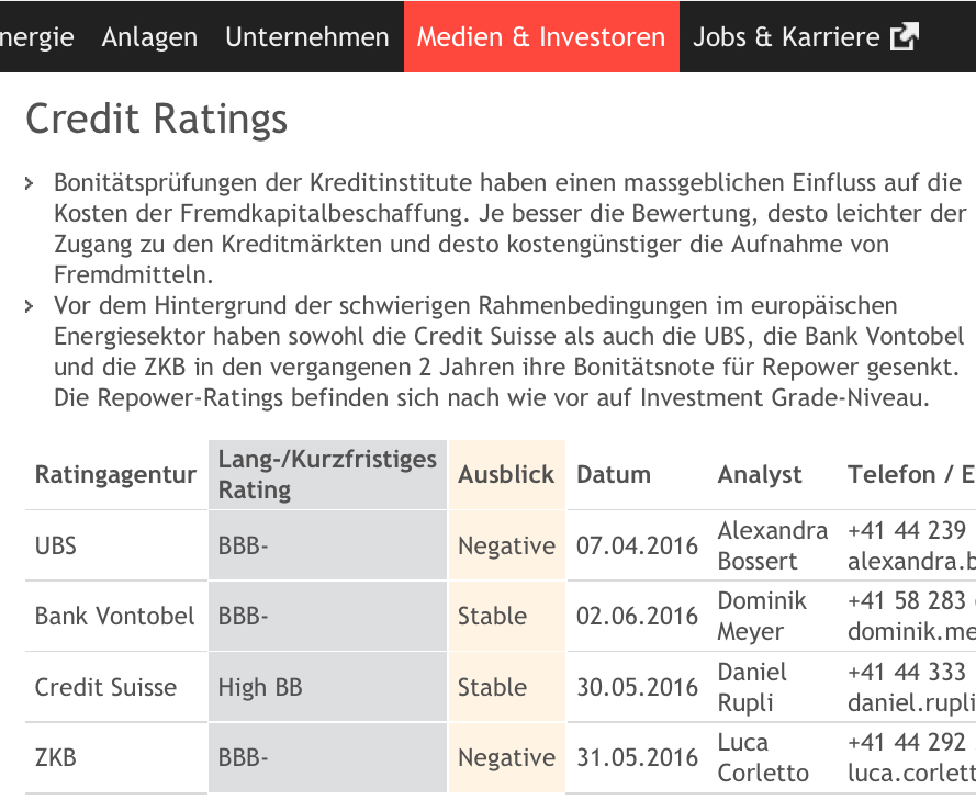 Credit ratings gemäss Repower Website (http://www.repower.com/gruppe/medien-investoren/investor-relations/fremdkapital/credit-ratings/) eingesehen am 3. Juni 2016. Ausschnitt. Vergrössern. (http://retropower.ch/wp-content/uploads/2016/06/Credit-ratings-gemaess-Repower.com-von-Repower-deutsch-2016-06-03.jpg)