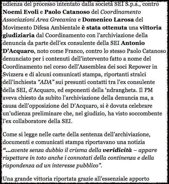 Reggio Calabria, archiviata la denuncia dell'ex consulente SEI (NTA Calabria, 19. Juni 2015)