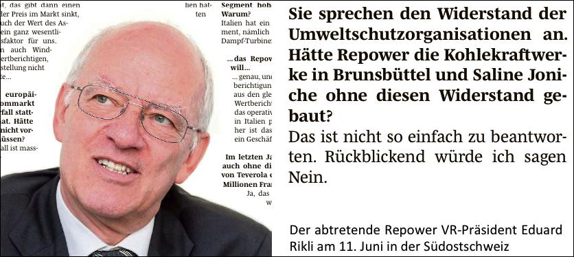 Zeitungsauschnitt eines Interviews mit dem ehemaligen Repower Verwaltungsratspräsidenten der Repower, Eduard Rikli. Montage.