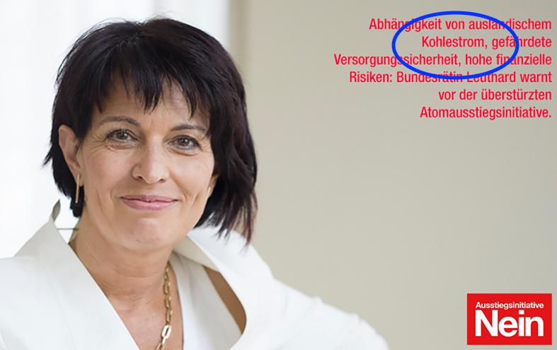 Inserat zeigt in weiss gekleidete Bundesrätin Doris Leuthard mit Warnung vor Kohlestrom bei Annahme der AKW-Ausstiegsinitiative.