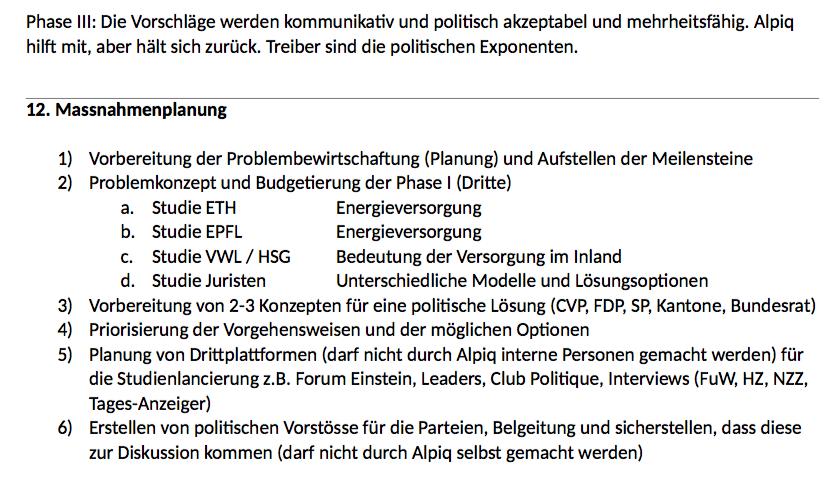 Planung des Missbrauchs des Staates als Selbstverständlichkeit. | Auszug aus dem Draft Lobbypapier des HNS-Konsulenten Dominique Reber für die Alpiq.