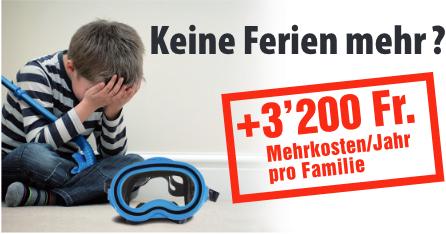 «Keine Ferien mehr?» Bild aus dem Unterschriftenbogen der SVP zur Referendumsabstimmung über das Energiegesetz