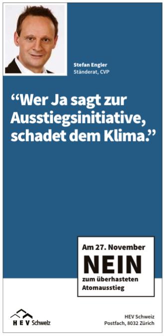 Stefan Engler: «Wer Ja sagt zur Ausstiegsinitiative schadet dem Klima.» Inserat des Hauseigentümerverbands Schweiz, HEV.